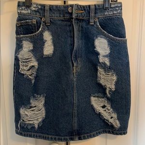 Distressed denim skirt from LF